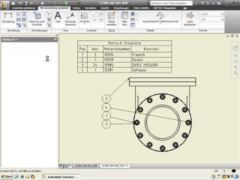 14. Direktintegration Inventor in SAP PLM mit Porta-X: Materialstücklisten aus Zeichnung ableiten