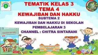 Kelas 3 Tematik : Tema 4 Subtema 2 Pembelajaran 3 (Kewajiban dan Hakku)