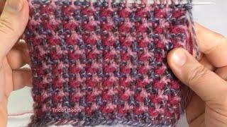 Трехцветная мозаика, узор для кардигана / Вязание спицами