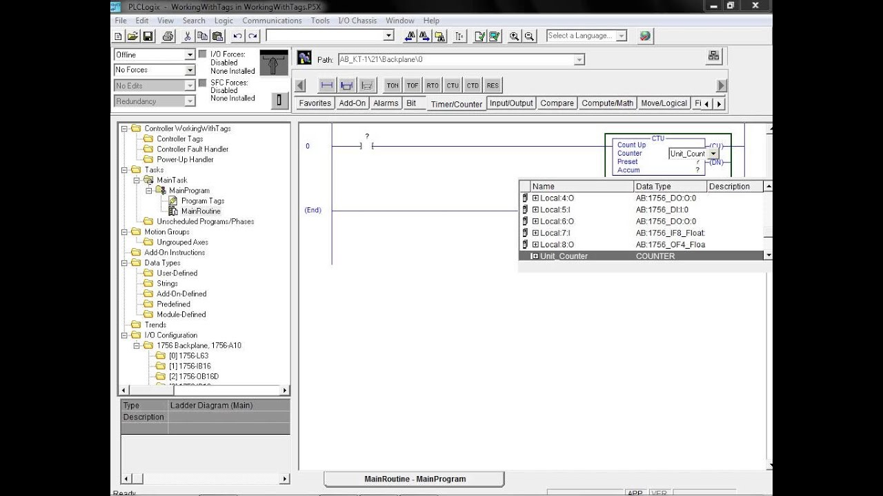 plclogix 5000 tutorial 2 working with tags plc technician ii studio 5000 learn ladder logic rslogix micro