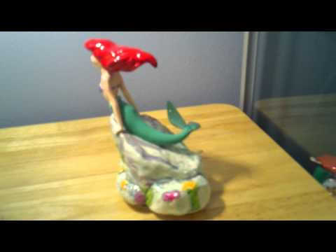 Ceramic Little Mermaid Hand Painted Figurine and music box.3gp