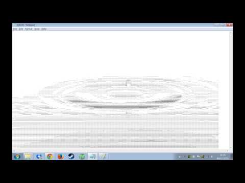 ASCII Text Water Droplet Animation in Notepad