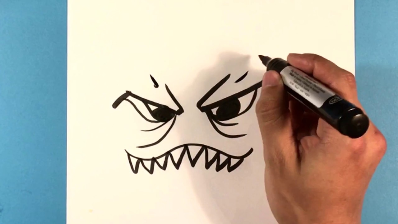 How to Draw Angry Monster Face for Kids - How to Draw Easy ...