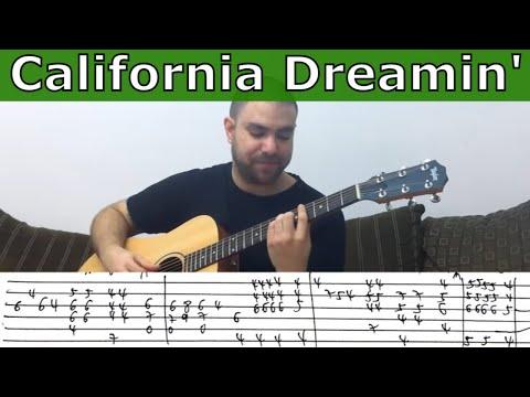 Fingerstyle Tutorial: California Dreamin' - w/ TAB (Guitar Lesson)