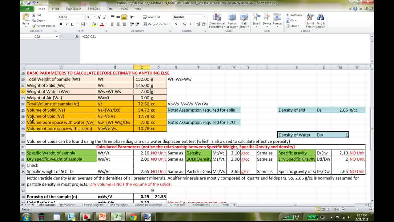 excel spreadsheet to calculate porosity  effective