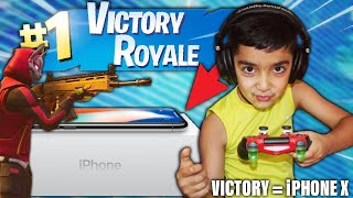 I told my 5 year old little brother if he gets a victory in Fortnite I will buy him an iPhone X!
