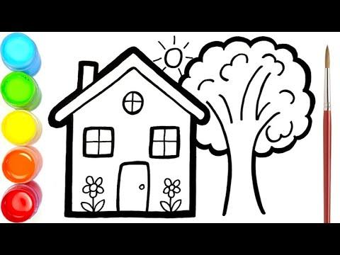 Menggambar Dan Mewarnai Rumah Dan Pohon Untuk Anak Anak Youtube