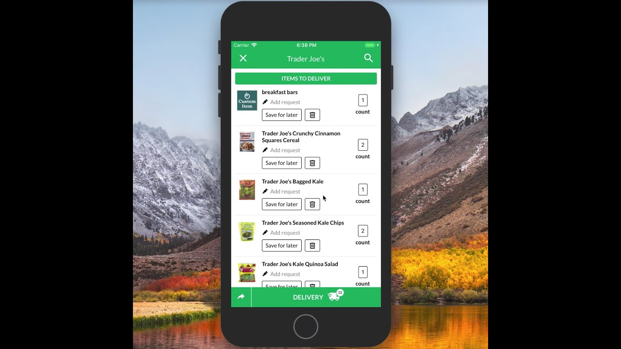 Creating a Grocery List in the dumpling App