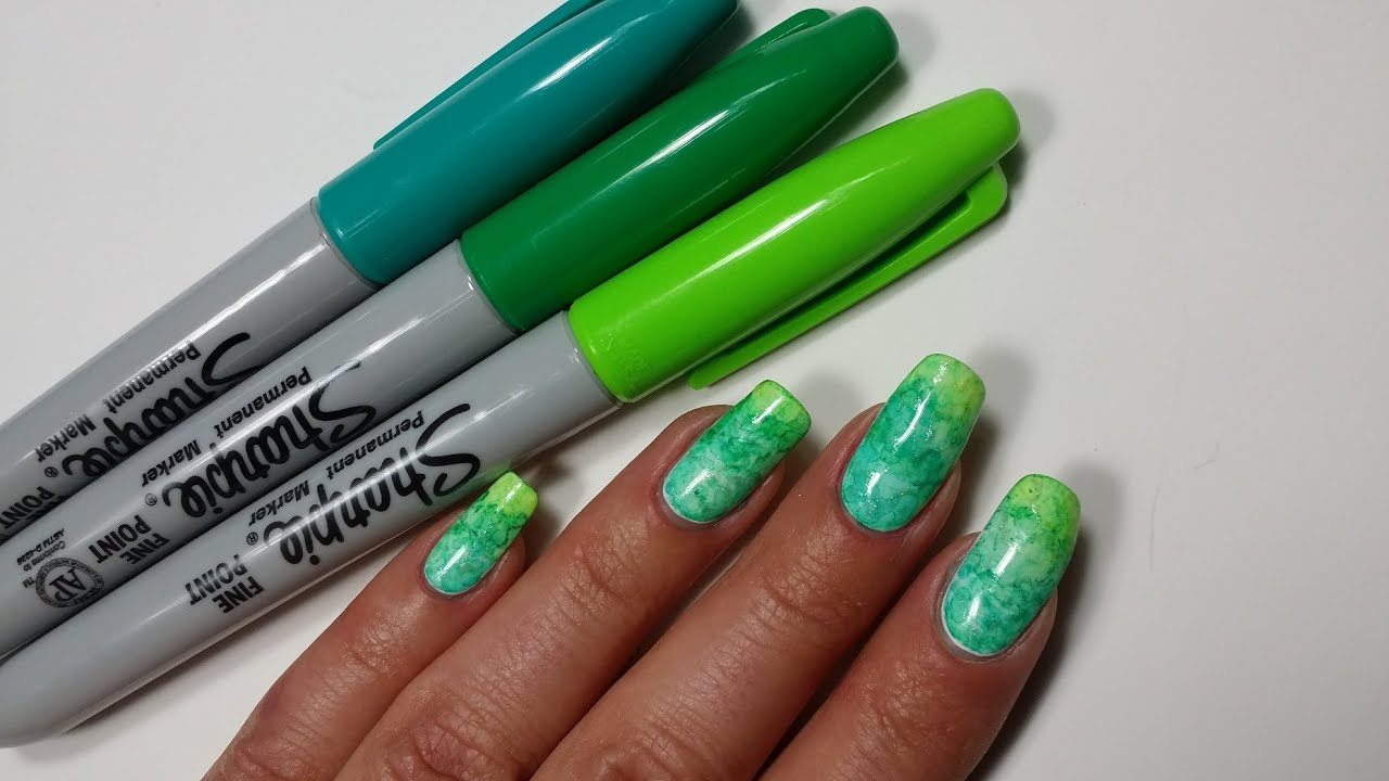 Sharpie Nail Art | Gradient Nails Design - YouTube