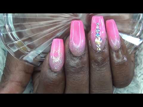 PINK GLITTER WITH BLING/Acrylic Nails
