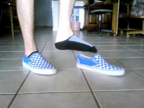 vans blue checkerboard on feet