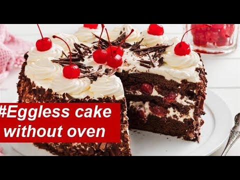 #Eggless Black Forest cake recipe#black forest cake without oven#Valentines day Special cake Recipe