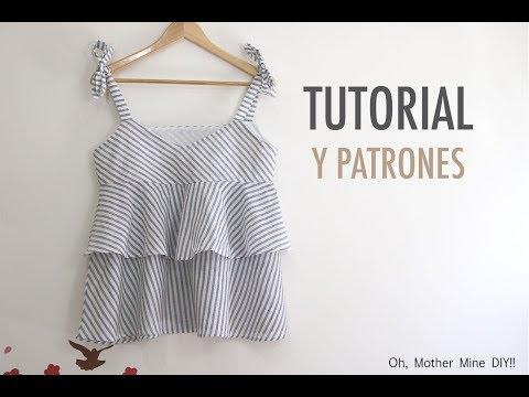 Costura: Blusa con volantes para mujer (patrones gratis)