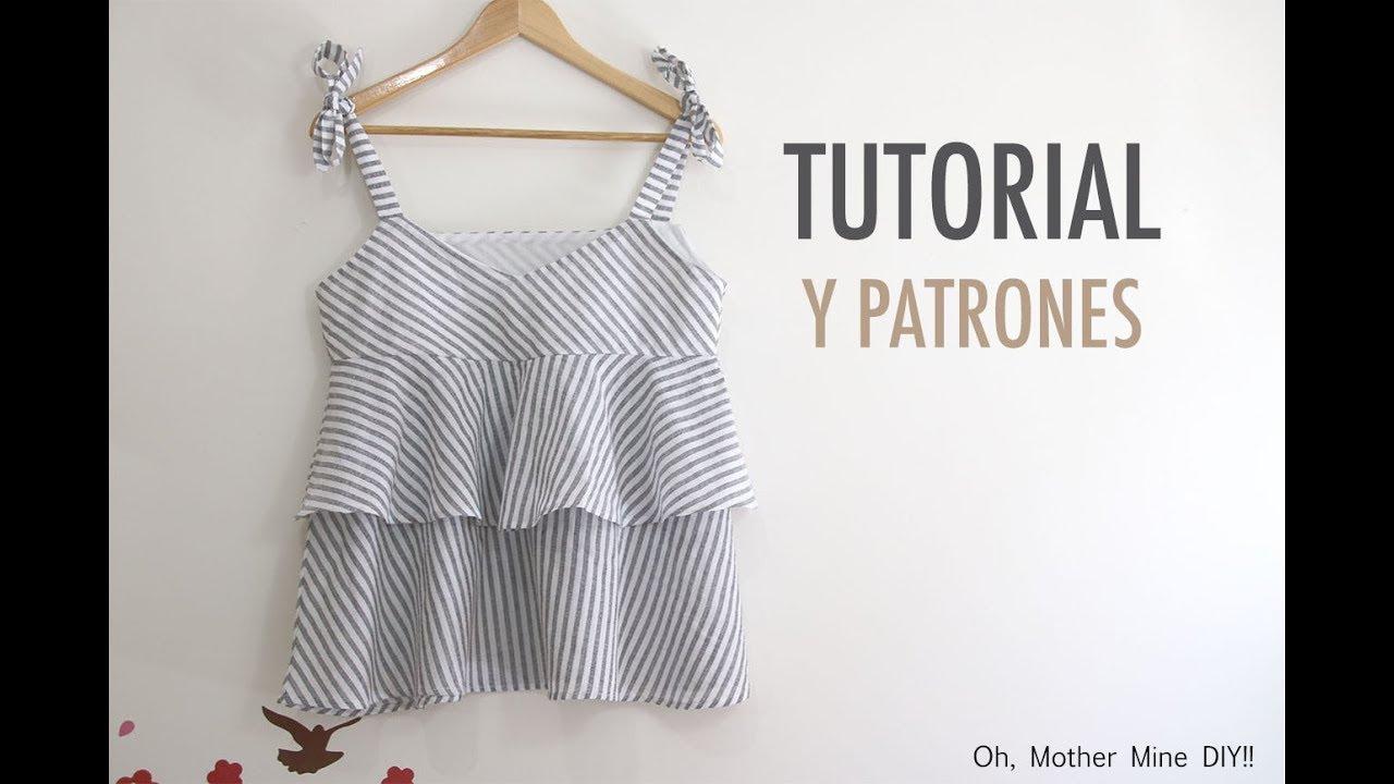 Costura: Blusa con volantes para mujer (patrones gratis) - YouTube