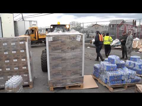 Water And Food Distribution Following Hurricane Sandy