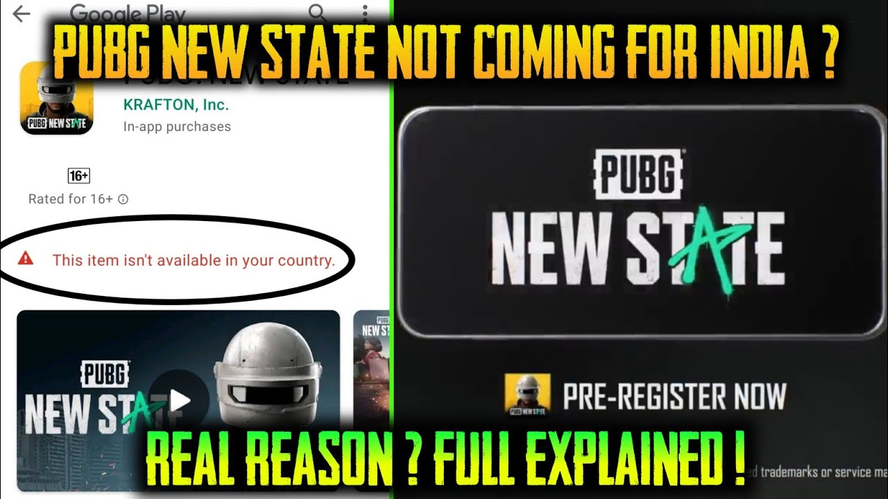 PUBG NEW STATE NOT COMING FOR INDIA ? WHY PUBG 2 NOT COMING IN INDIA ?ITEM NOT AVAILABLE PROBLEM FIX
