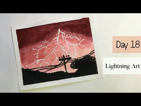 How To Draw Lightning Scenery Painting With Poster Color   Day #18