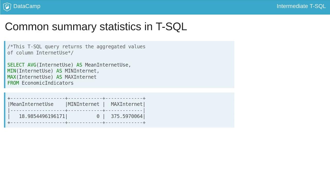 Intermediate SQL Course