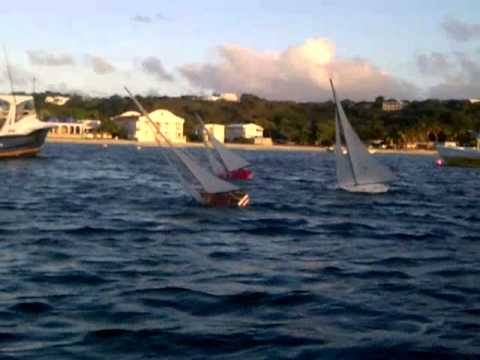 Anguilla pond boat racing in sandy ground
