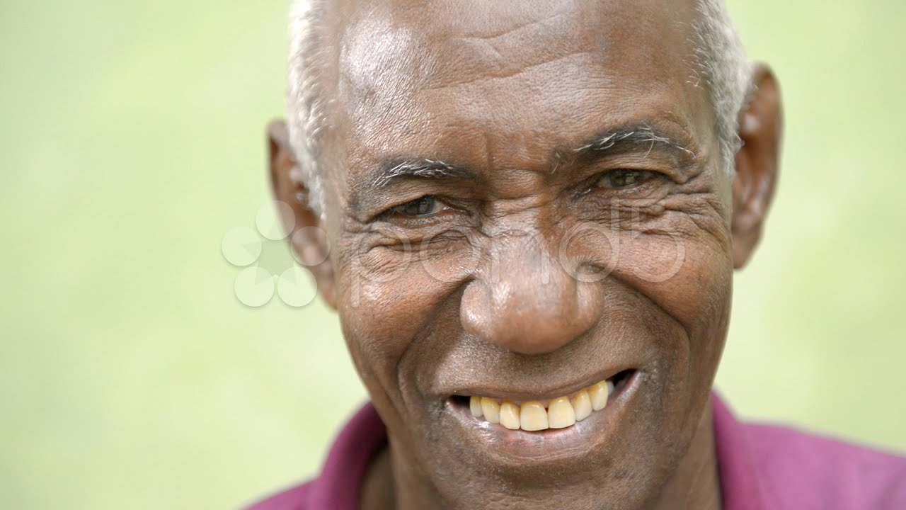 Elderly People Portrait, Happy Old Black Man Smiling At ...