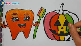 Coloring Pumpkin and Teeth    Draw For Kids