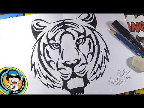 Como Desenhar Tigre Estilo Tribal Passo A Passo How To Draw