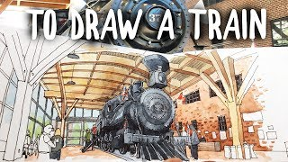 HOW TO DRAW A TRAIN - CURVILINEAR PERSPECTIVE