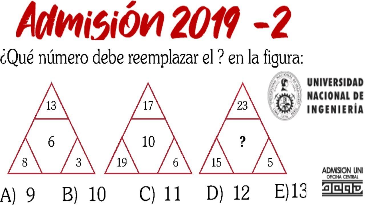 Examen Uni 2019 2 Admision Universidad De Ingenieria Razonamiento Matematico Solucionario 2019 Ii Youtube