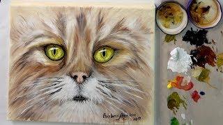 Como pintar un gato con la técnica del boligrafo y oleo