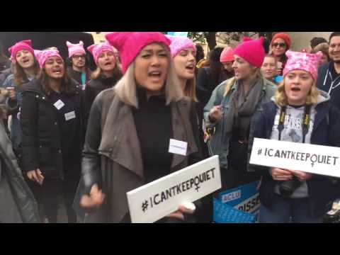 """WOMEN'S MARCH ON WASHINGTON:PROTESTERS PERFORM """"I CAN'T KEEP QUIET"""""""