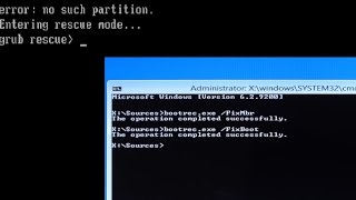 GRUB rescue Fixed!! - How to Restore Windows boot loader After Deleting Linux
