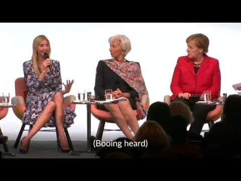 Ivanka Trump booed for praising her father at women