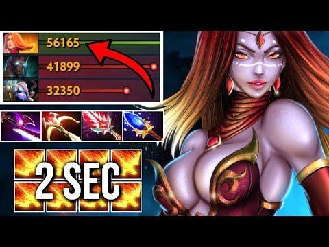 WTF 1000 Last Hit 2 sec Dragon Slave Lina Mid vs Hard Carry Super Speed Epic Game 7.07 Dota 2