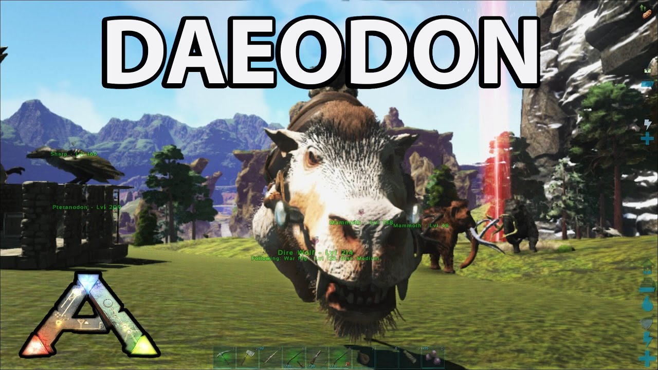 Daeodon Taming Ark Survival Evolved Center Map S Youtube Raw fish 5 pts of food, raw meat 10 pts, cooked fish 12,5 pts, cooked meat, cooked prime fish can be used to raise a baby wyvern without milk if needed. daeodon taming ark survival evolved center map s