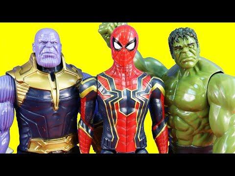 Marvel Avengers Titan Hero Power FX Toys Iron Spider Hulk And Iron Man Vs Thanos