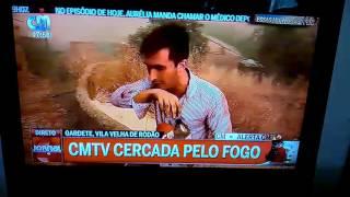 Repórter CMTV engasga-se com fagulha em direto