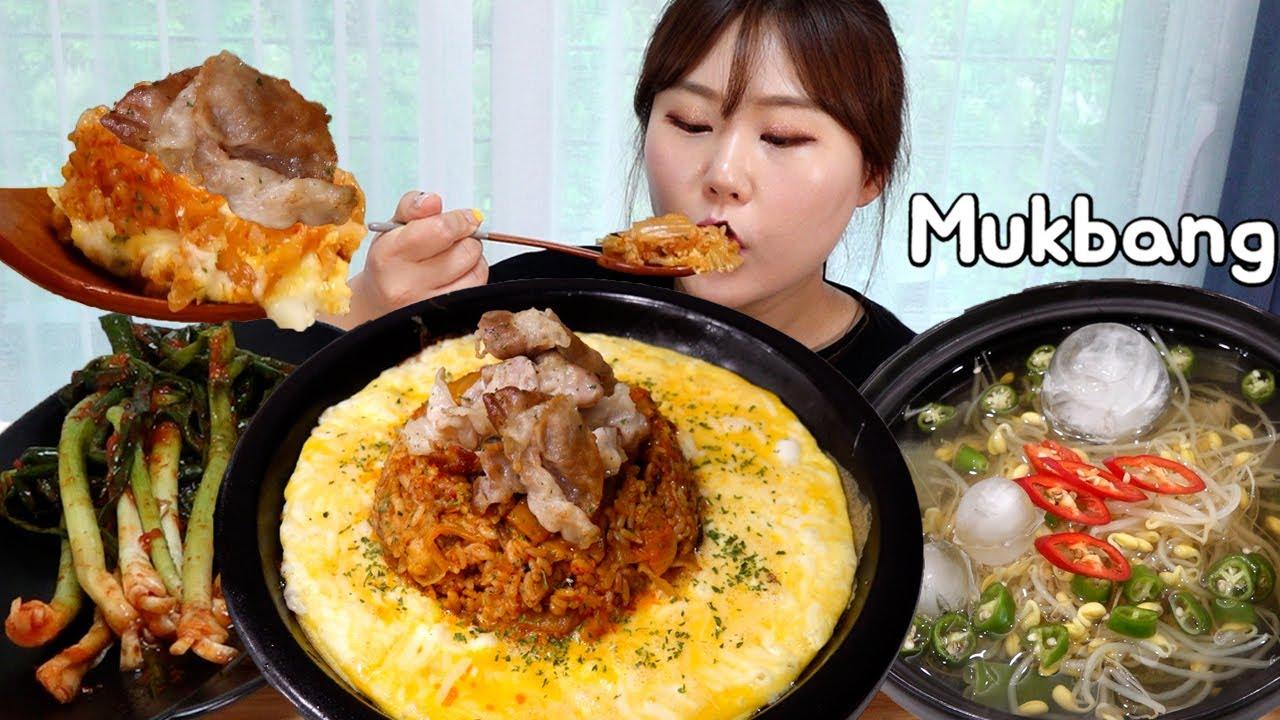 간단하게 대패삼겹살 김치볶음밥 만들기🥧 시원한 냉 콩나물국과 파김치 먹방 Mukbang