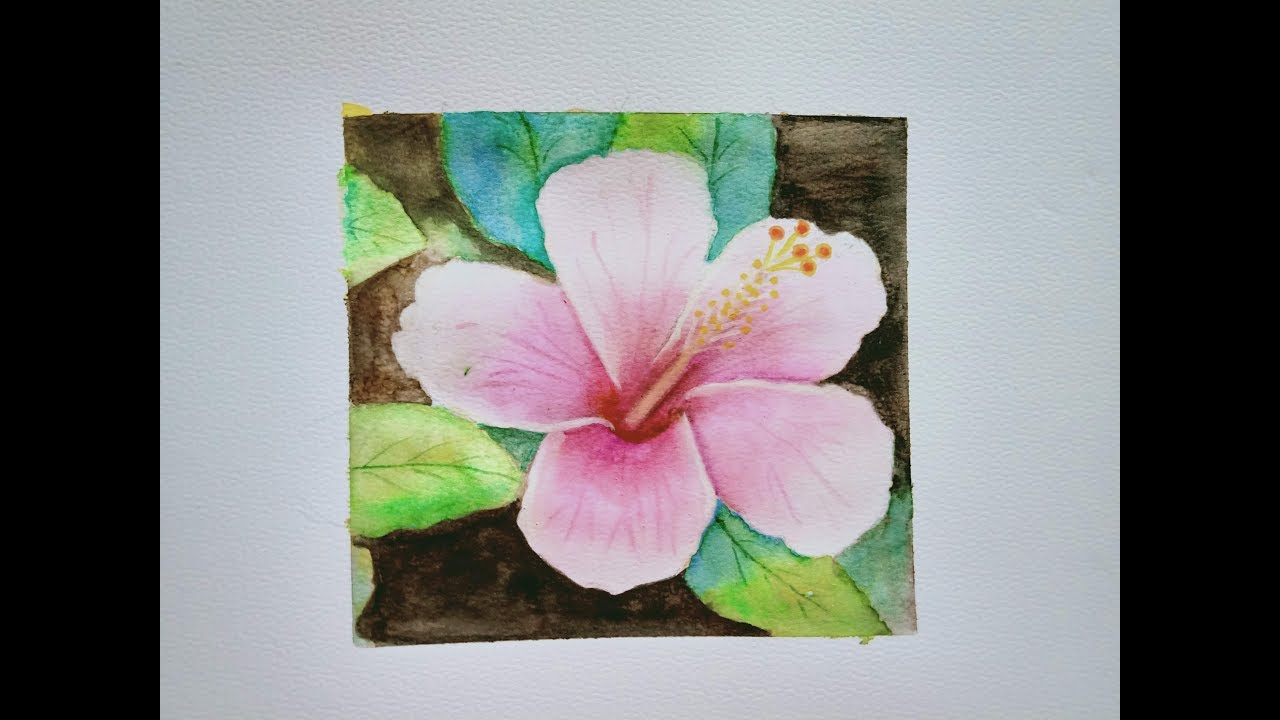 Paintinghibiscus Flower Water Color Painting Easy Step By Step