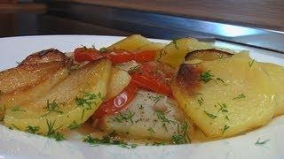 Треска с картофелем и луком видео рецепт. Книга о вкусной и здоровой пище