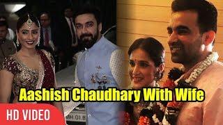 Aashish Chaudhary With Wife  Samita Bangargi At Zaheer Khan Wedding Reception