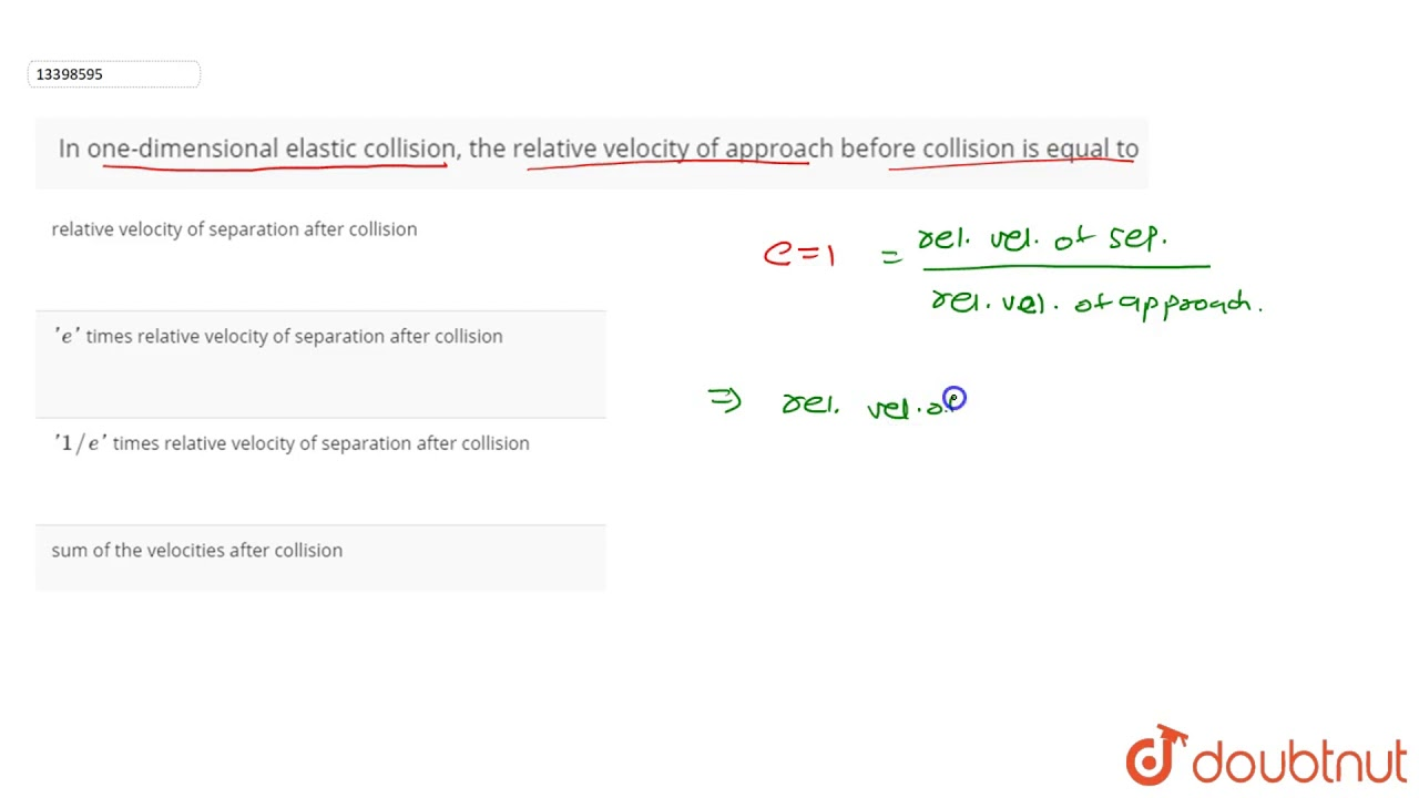 In One Dimensional Elastic Collision The Relative Velocity Of