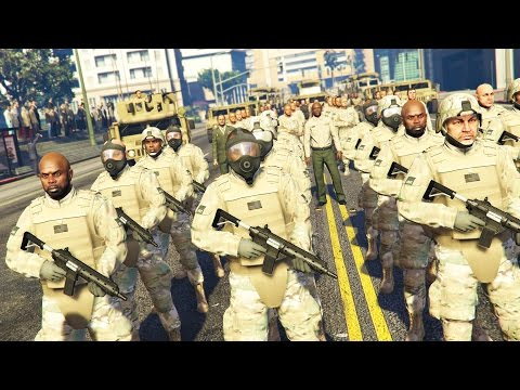 GTA 5 PLAY AS A COP MOD - MARTIAL LAW!! MILITARY TAKEOVER Army Police Patrol!! (GTA 5 Mods Gameplay)