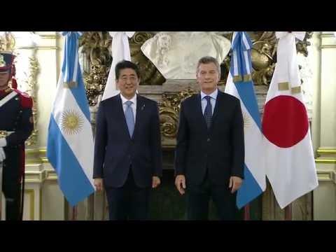 El presidente Mauricio Macri recibió al Primer Ministro de Japón, Shinzo Abe.