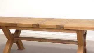 Monastry Large Solid Oak Cross Leg Extending Dining Table