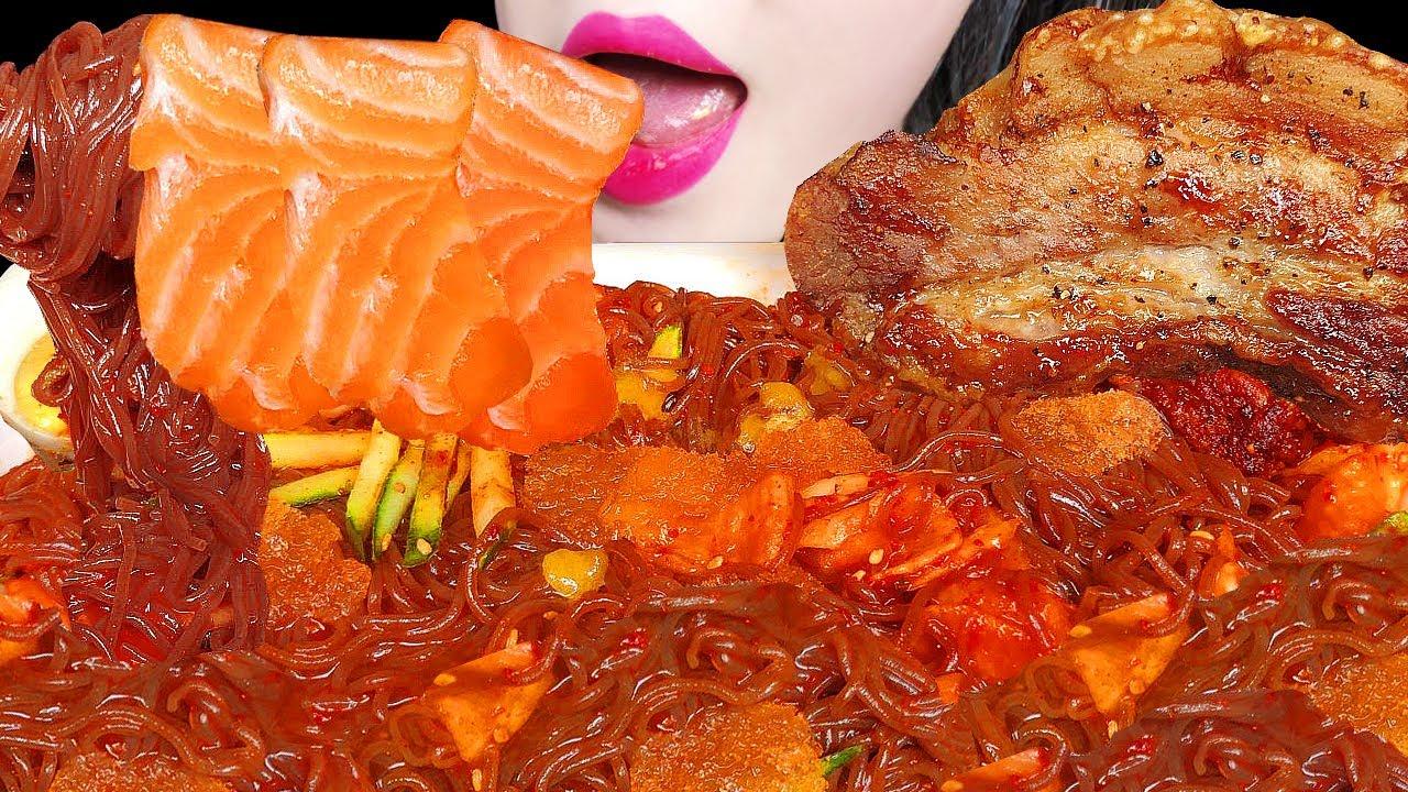 ASMR SALMON SPICY NOODLES 비빔냉면 통삼겹살 연어회 먹방 PORK BELLY CHUNK, SASHIMI EATING SOUNDS MUKBANG