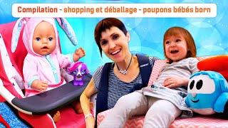 Compilation en français. Poupons bébés born Emilie et Annabelle. Shoppings et déballages