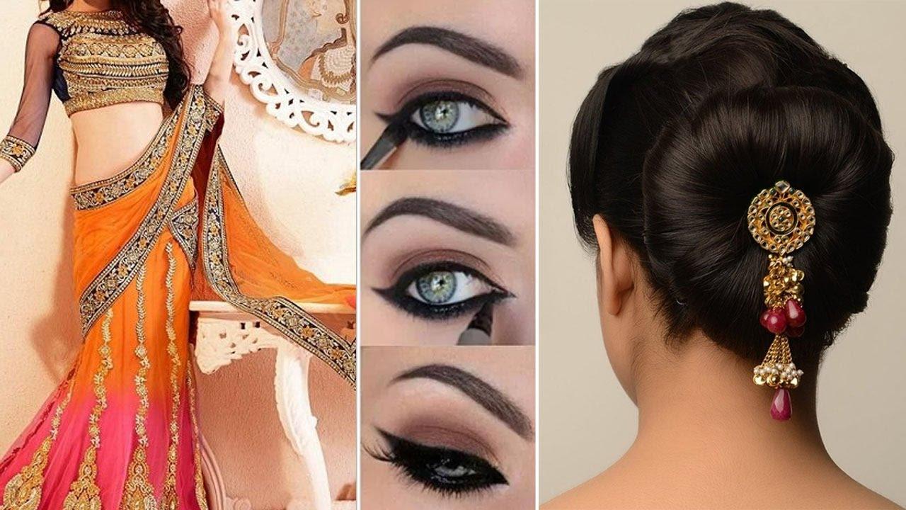 lehenga style saree draping with makeup and hairstyle step by step | diy | lehenga bridal makeup