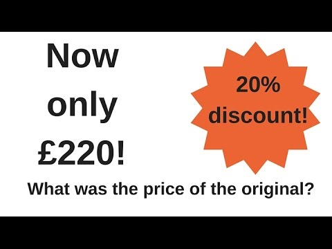 How to work out a reverse percentage - GCSE maths question 1