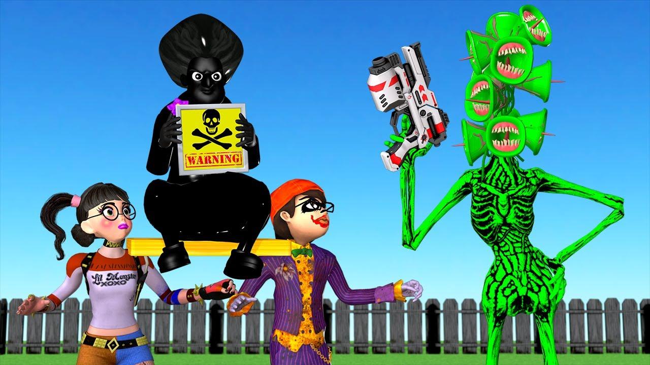 Scary Teacher 3D NickJoker and Tani Harley Quinn vs Giant Siren Head Troll Miss T with Power Switch