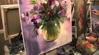 Игорь Сахаров, научиться рисовать маслом, букет цветов(Записаться на мастер-класс Игоря Сахарова + 7 915 331 60 53., 2015-08-28T21:56:49.000Z)
